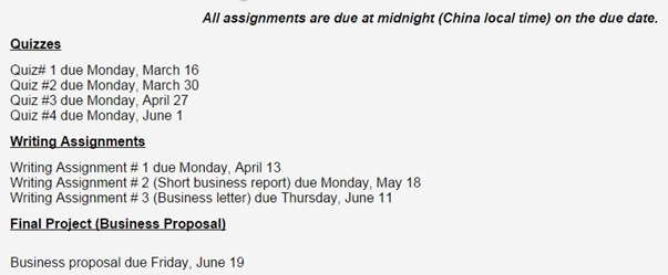 IMG 2 Assignment Due Dates