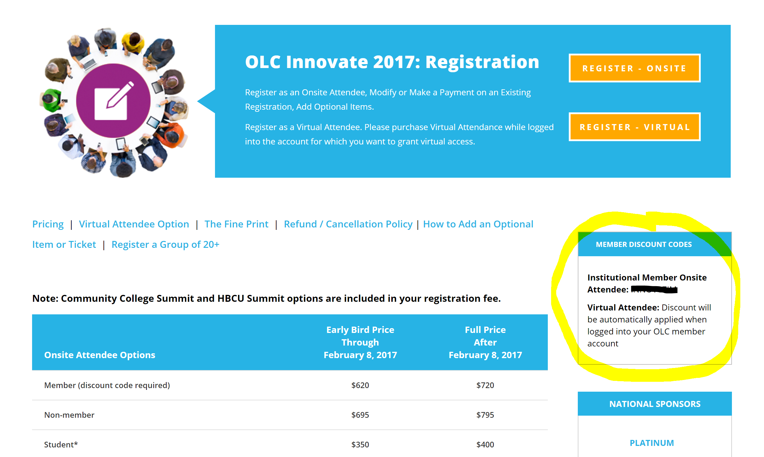 OLC Innovate 2017 - Member Discount Code Location