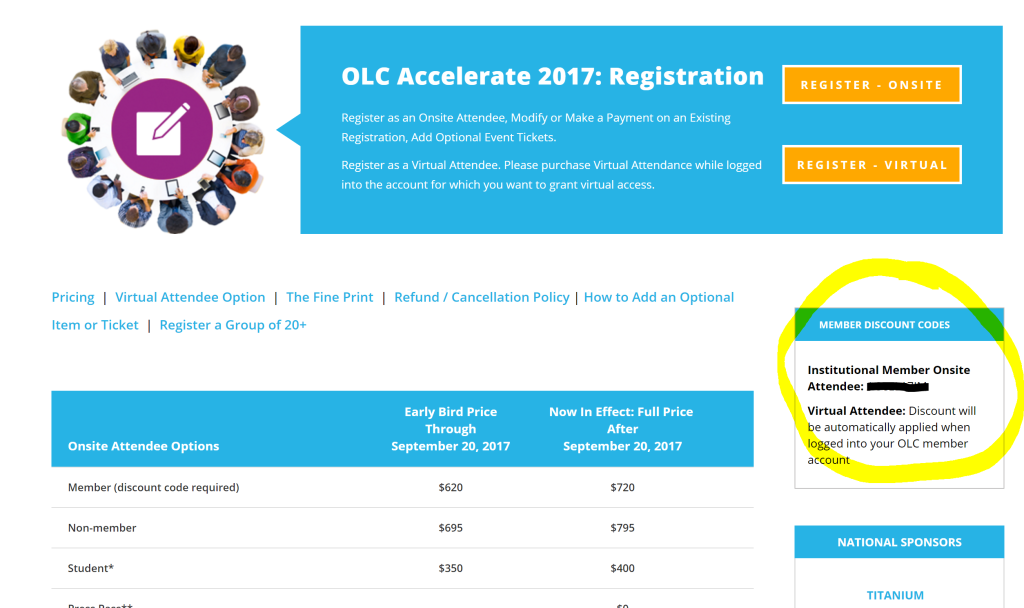 OLC Accelerate: Where Do I Find the Member Discount Code for ...