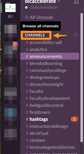 OLC Accelerate Slack Channel view