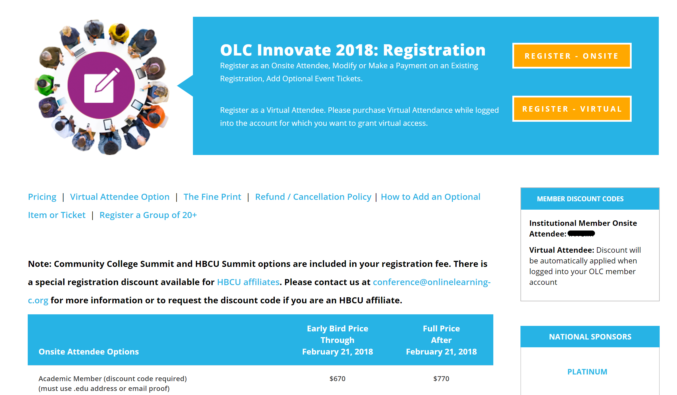 OLC Innovate 2018 - Member Discount Code Location