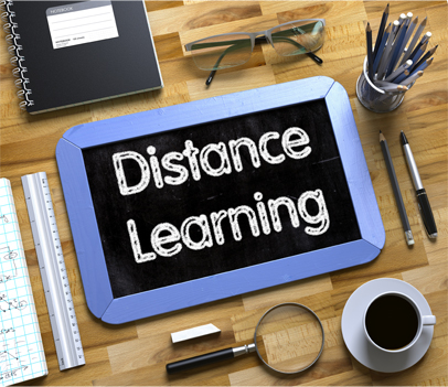 """Distance Learning"" sign"