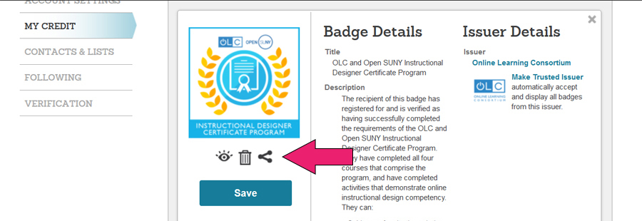 Credly Digital Badge Instructions 7 - OLC