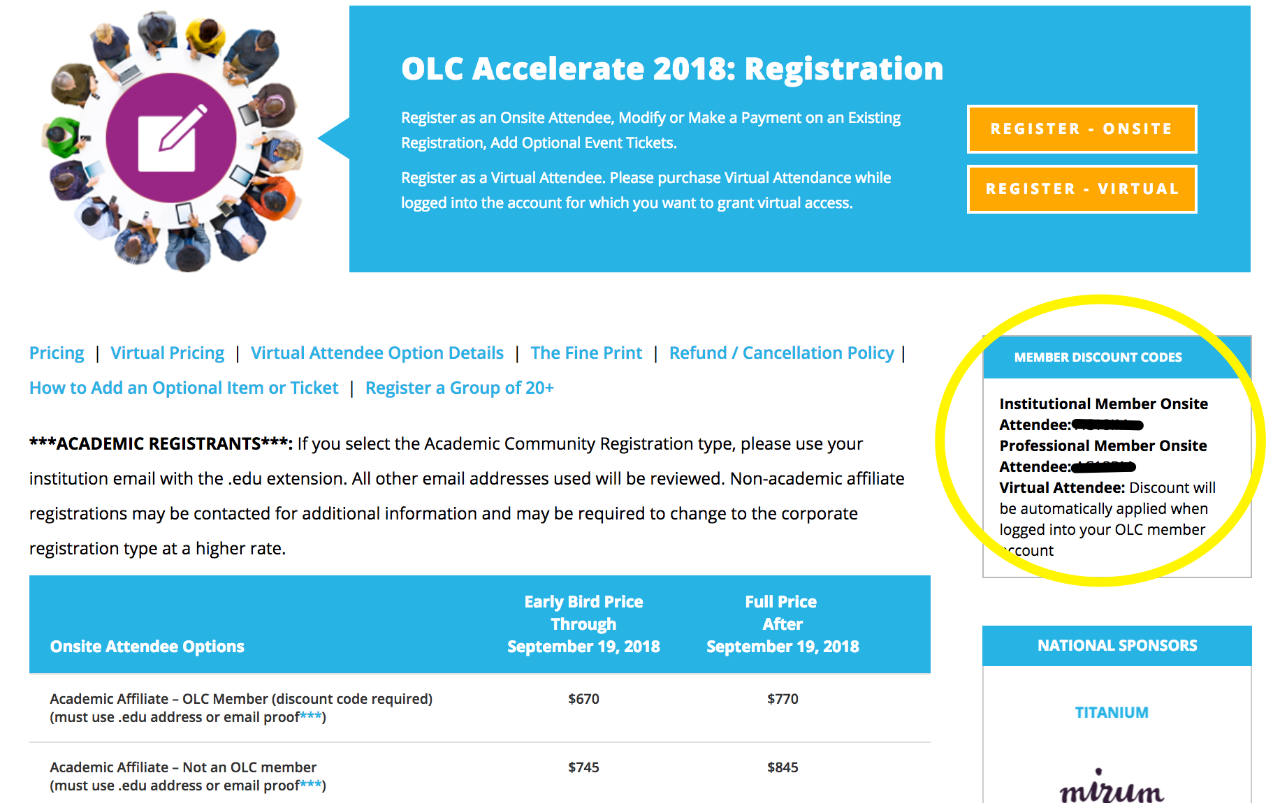 OLC Accelerate 2018 - Member Discount Code Location