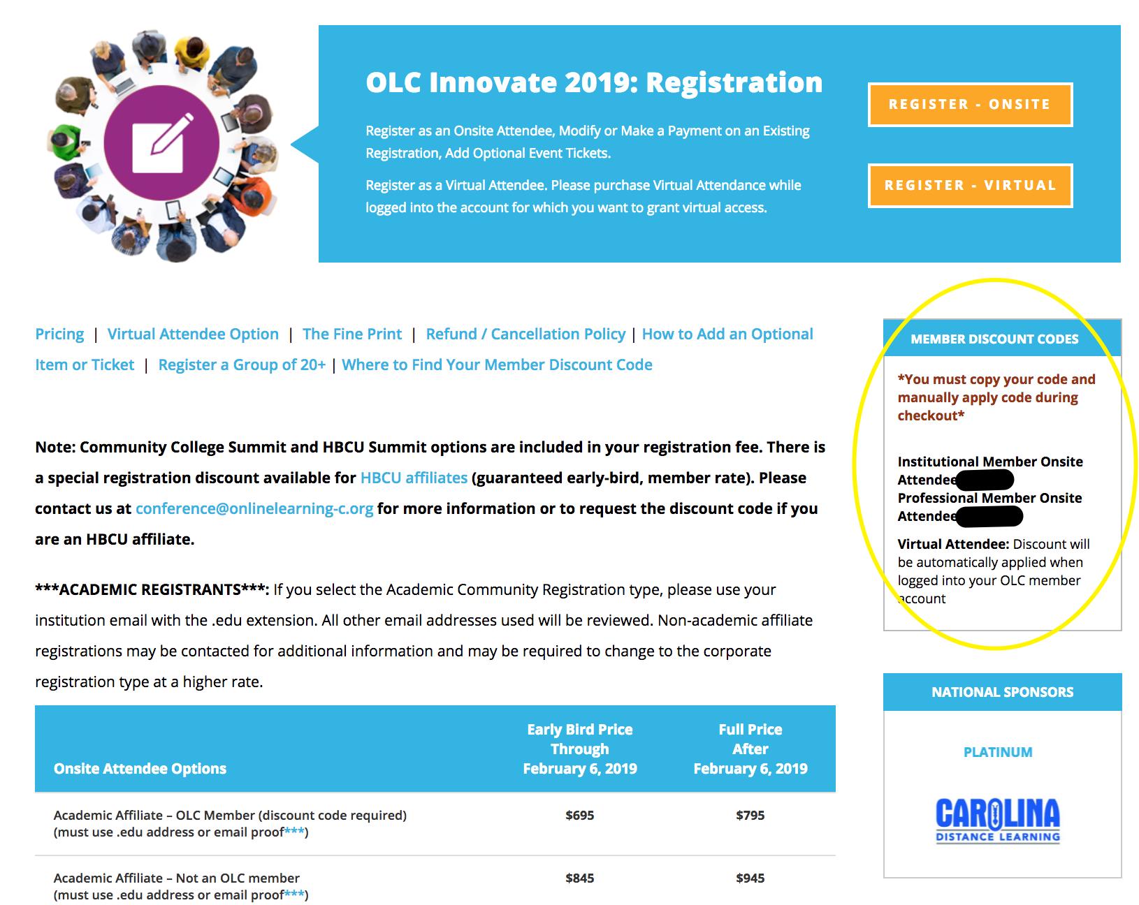 OLCInnovate 2019 - Member Discount Code Location