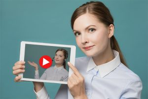 Online Teacher - Woman with Self on iPad