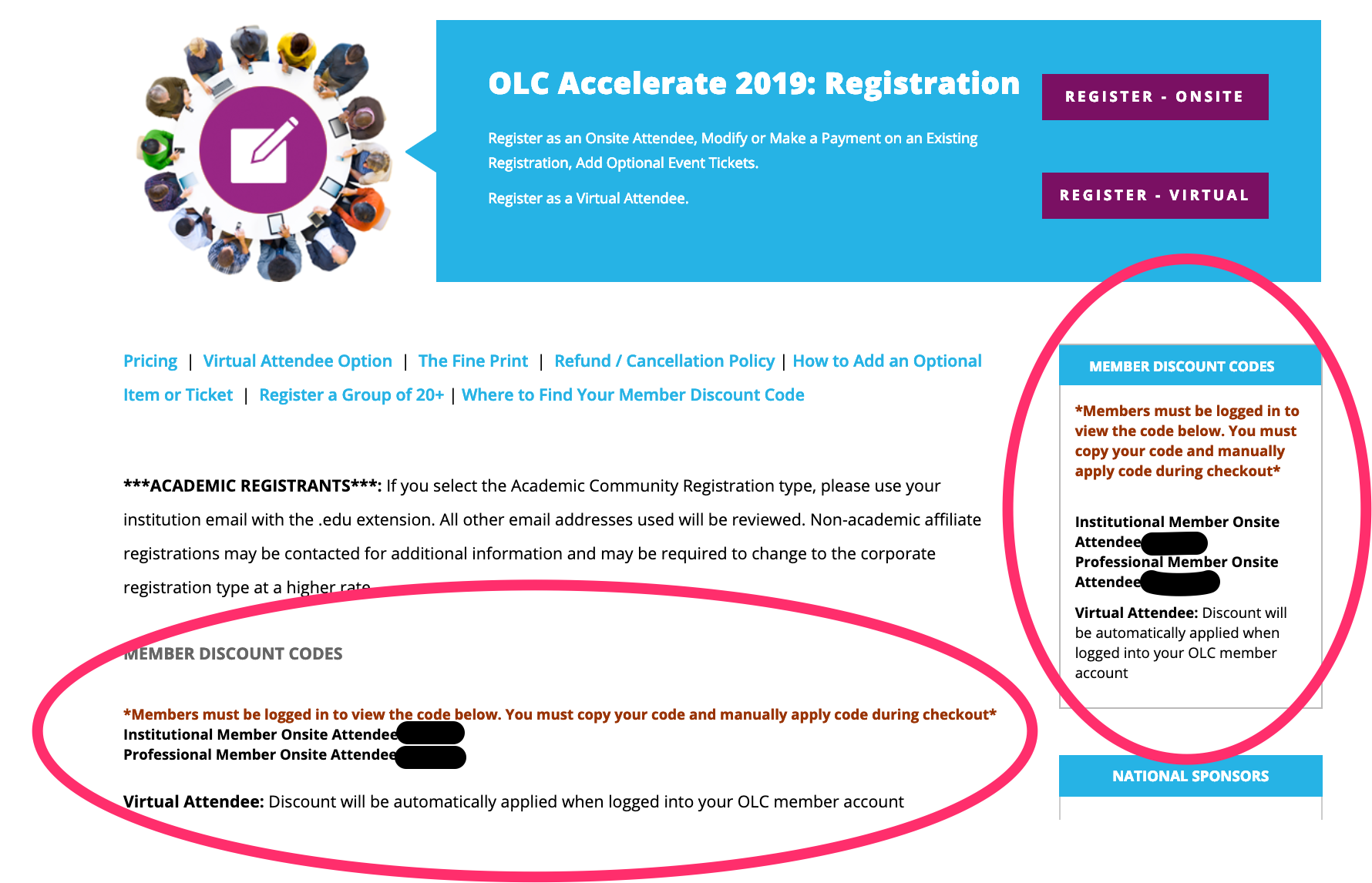 OLC Accelerate 2019 - Member Discount Code Location