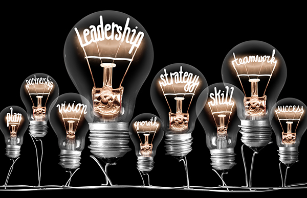 Photo of light bulbs group with shining fibers in a shape of LEADERSHIP concept related words isolated on black background