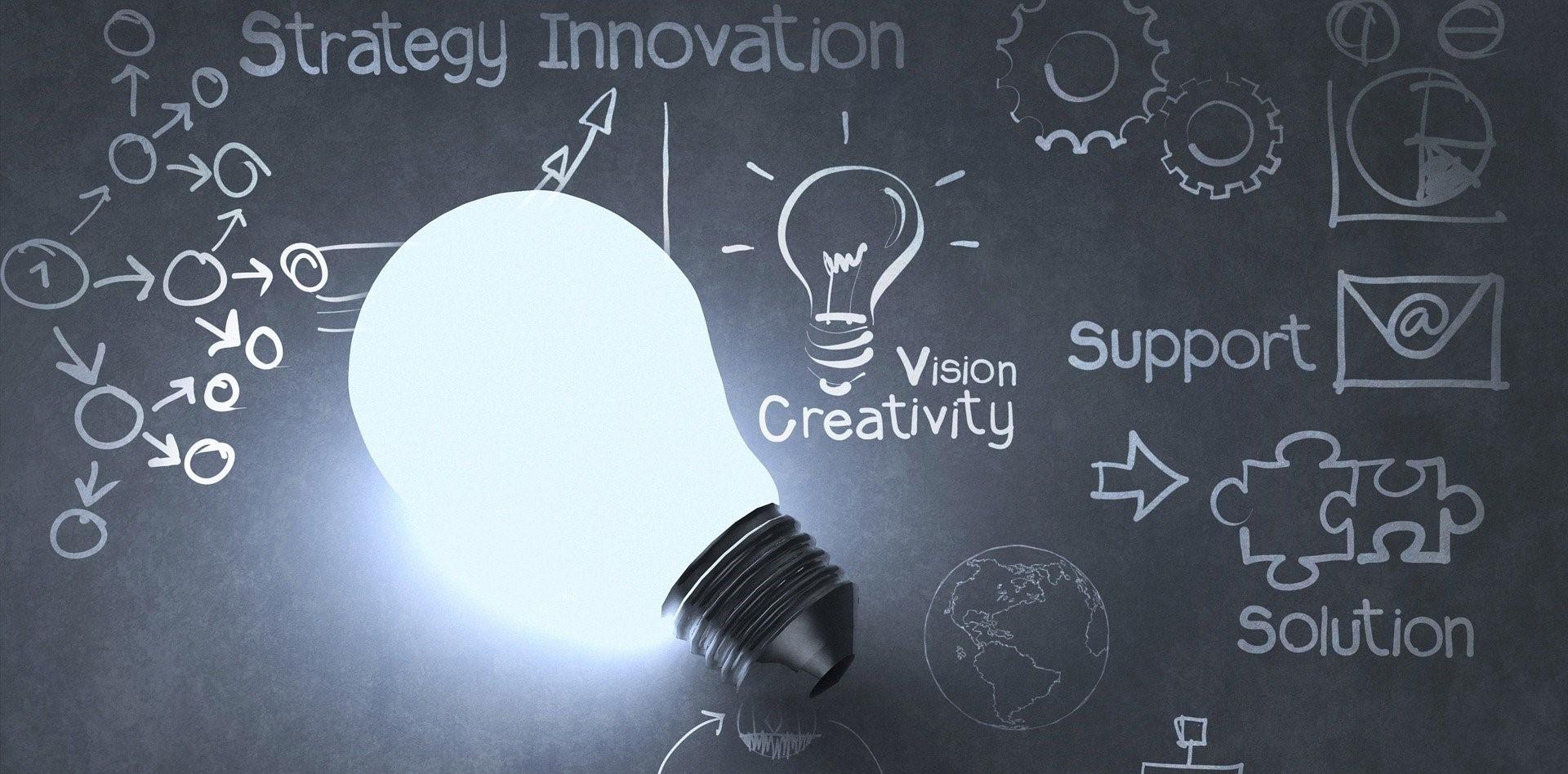 Light bulb on a chalkboard background highlighting innovation