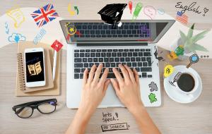 language symbols on laptop