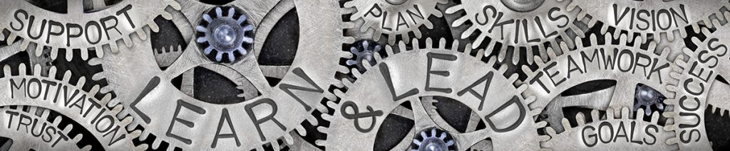 Group of tooth wheel mechanism with Learn and Lead, Skills, Vision, Support and Goal words imprinted on metal surface.