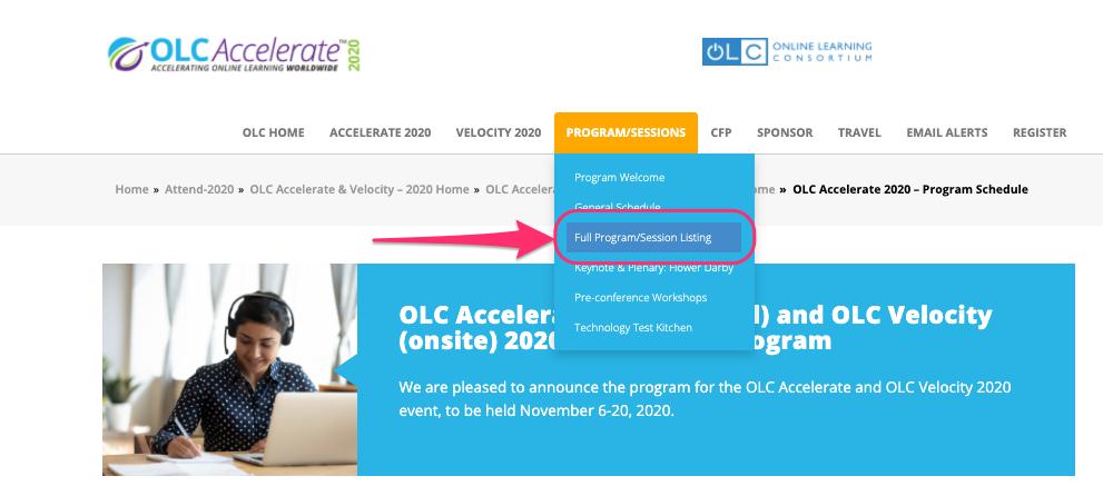 OLC Accelerate 2020 Program Menu Item