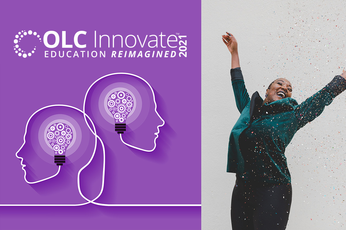 OLC Innovate Logo and Woman Celebrating