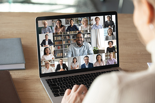 Video conference on a laptop screen