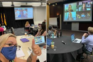 Two photographs showing students participating in the hyflex immersion experience of IELOL 2021