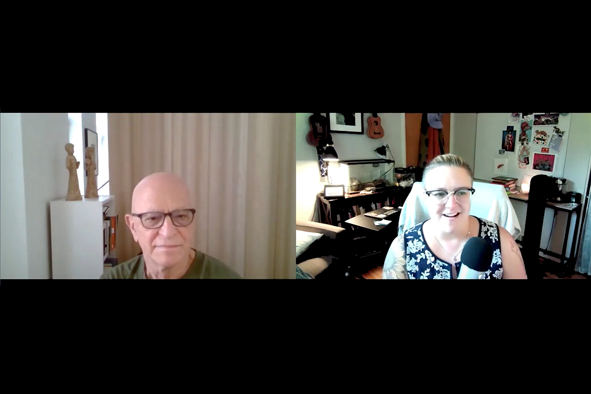 Screen capture from interview, showing a conversation between author Robert Ubell and OLC's Jessica Knott